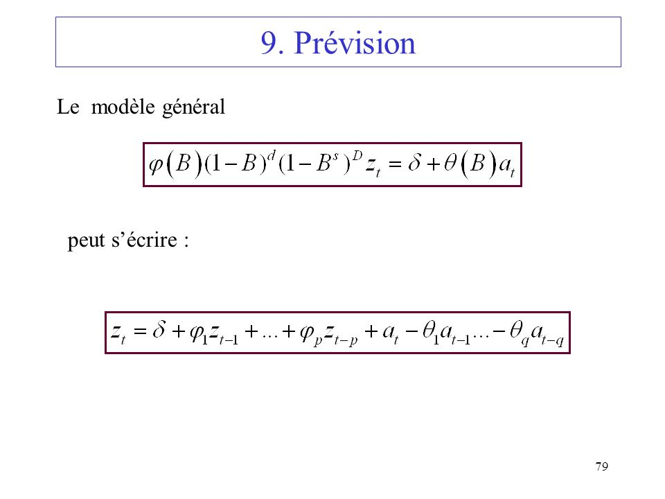 79 9. Prévision Le modèle général peut sécrire :