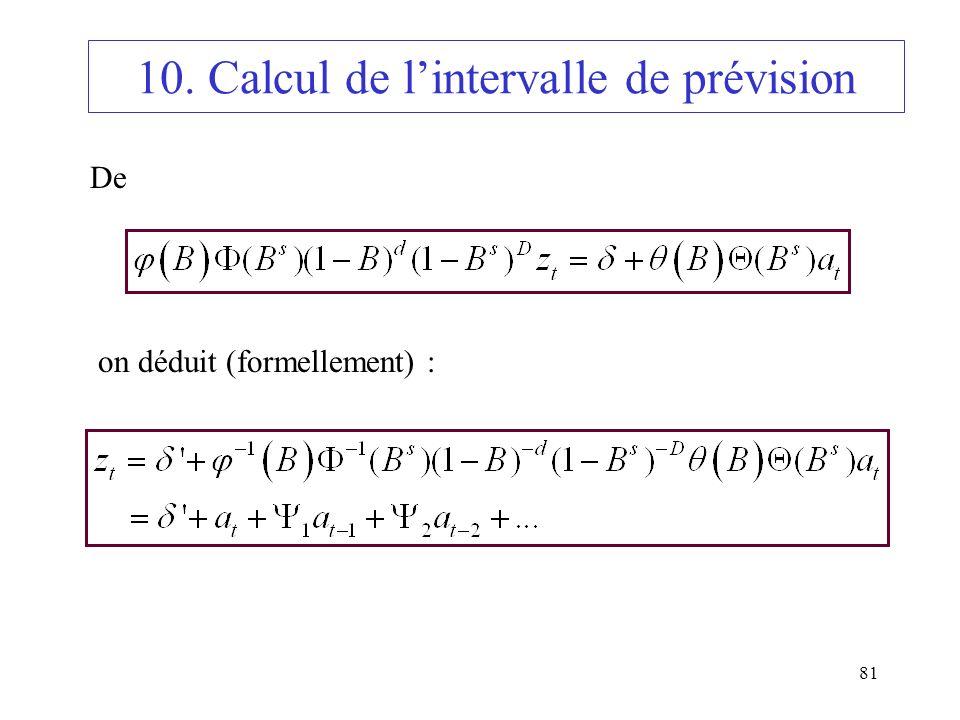 81 10. Calcul de lintervalle de prévision De on déduit (formellement) :