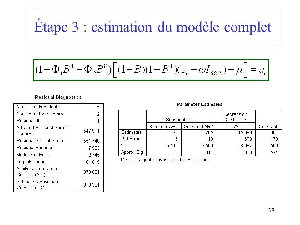 98 Étape 3 : estimation du modèle complet