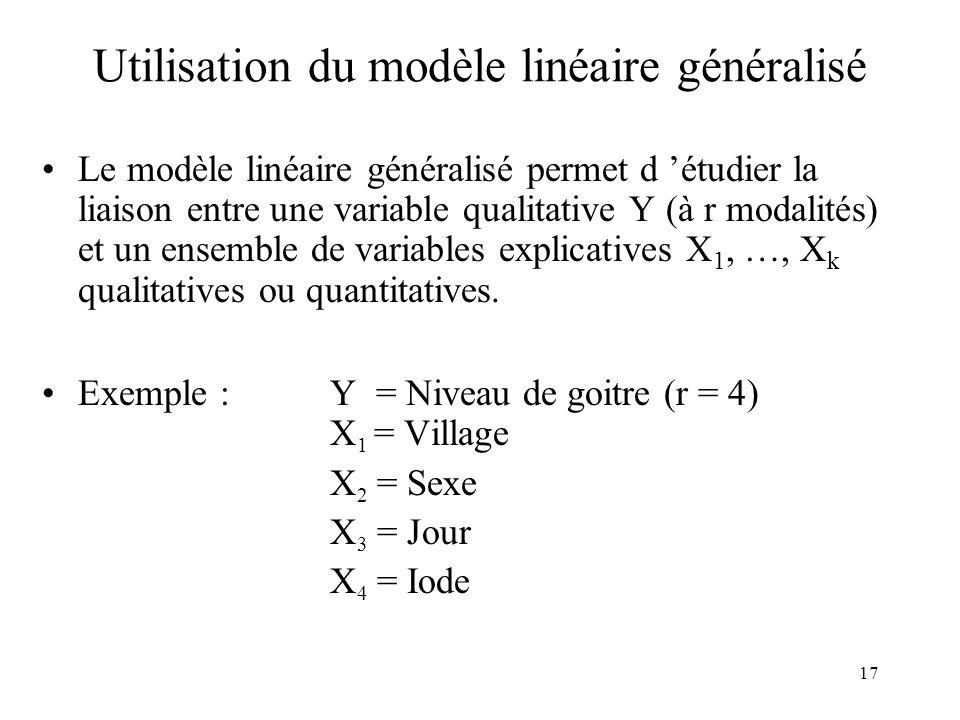 17 Utilisation du modèle linéaire généralisé Le modèle linéaire généralisé permet d étudier la liaison entre une variable qualitative Y (à r modalités