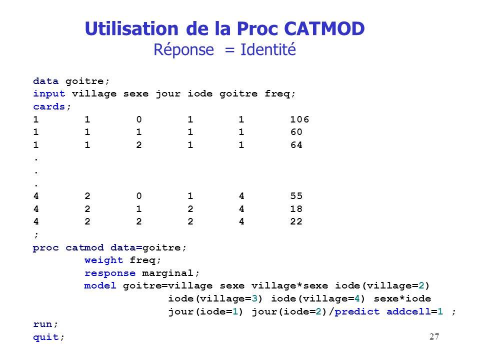 27 Utilisation de la Proc CATMOD Réponse = Identité data goitre; input village sexe jour iode goitre freq; cards; 1 1 0 1 1 106 1 1 1 1 1 60 1 1 2 1 1
