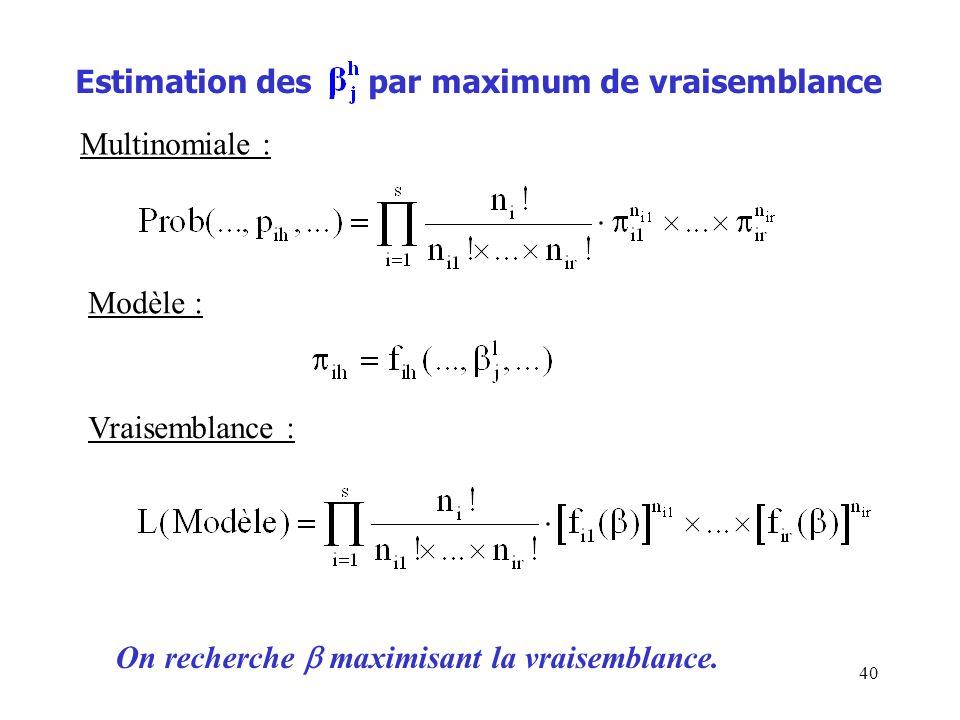 40 Estimation des par maximum de vraisemblance Multinomiale : Modèle : Vraisemblance : On recherche maximisant la vraisemblance.