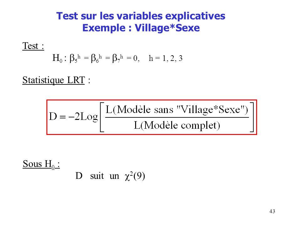 43 Test sur les variables explicatives Exemple : Village*Sexe Test : H 0 : 5 h = 6 h = 7 h = 0, h = 1, 2, 3 Statistique LRT : Sous H 0 : D suit un 2 (