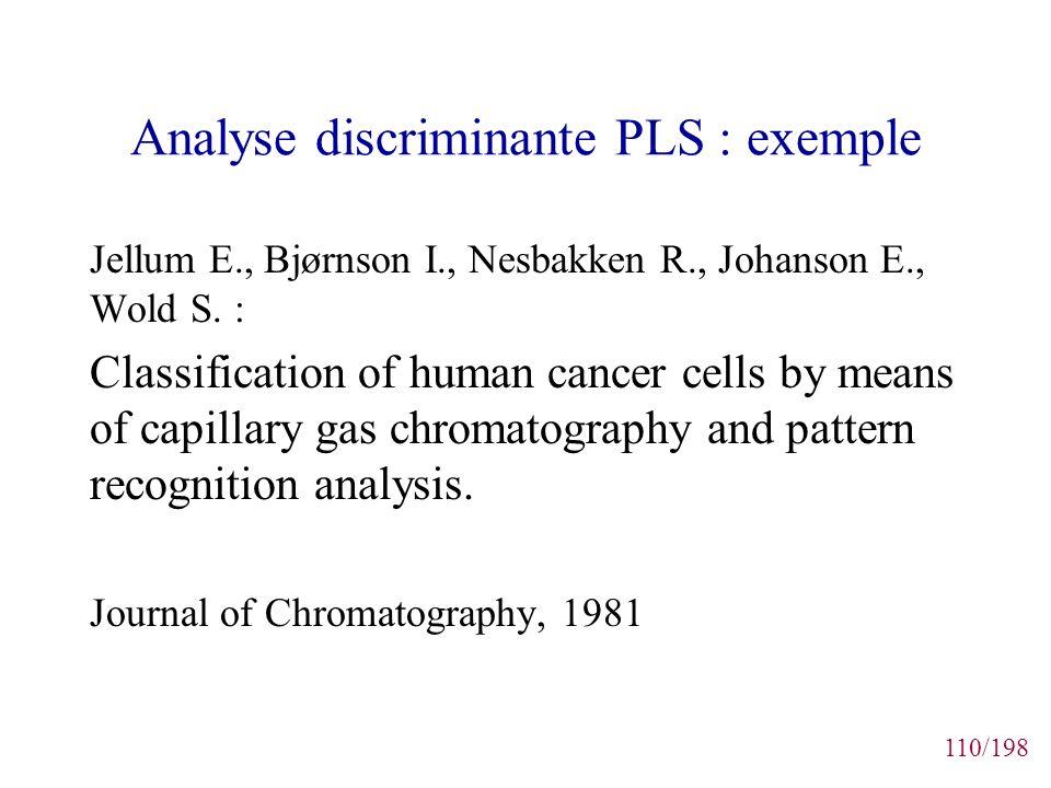110/198 Analyse discriminante PLS : exemple Jellum E., Bjørnson I., Nesbakken R., Johanson E., Wold S. : Classification of human cancer cells by means
