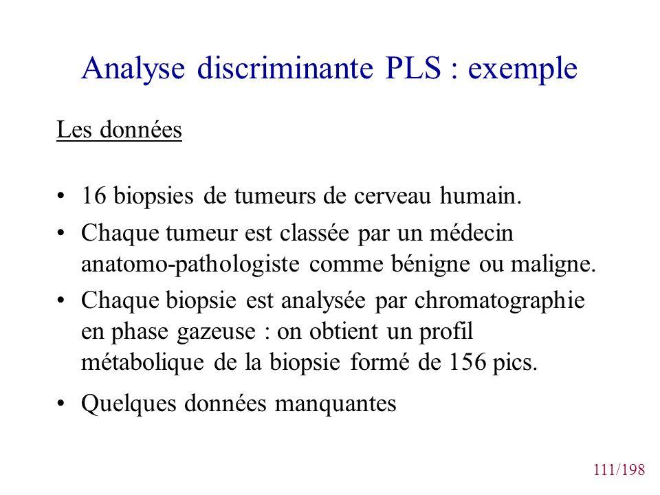 111/198 Analyse discriminante PLS : exemple 16 biopsies de tumeurs de cerveau humain. Chaque tumeur est classée par un médecin anatomo-pathologiste co