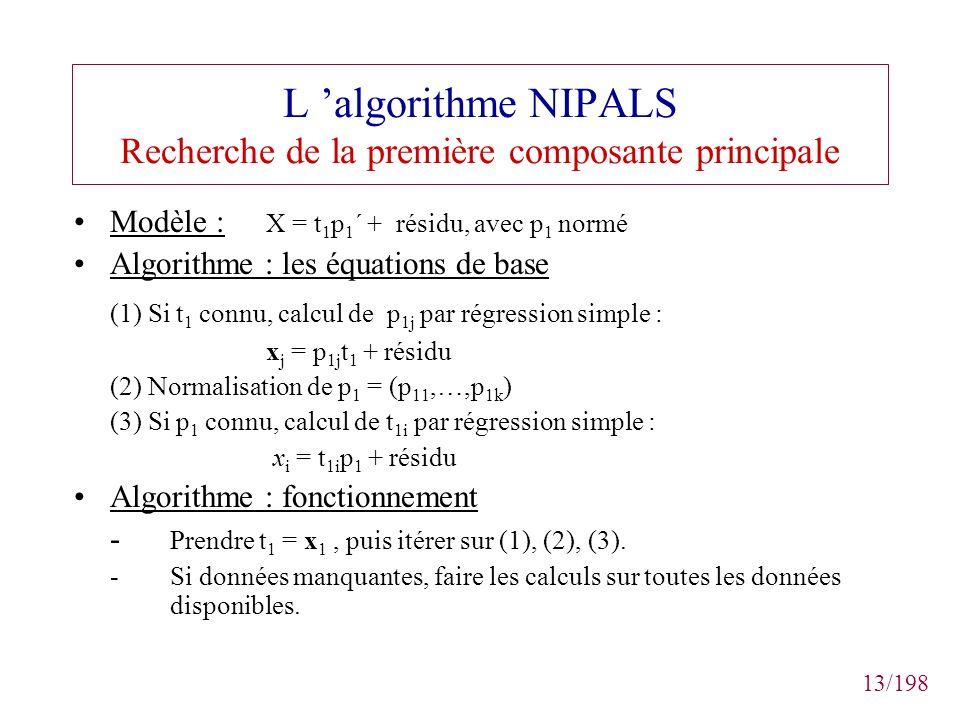 13/198 L algorithme NIPALS Recherche de la première composante principale Modèle : X = t 1 p 1 ´ + résidu, avec p 1 normé Algorithme : les équations d