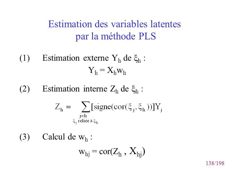 138/198 Estimation des variables latentes par la méthode PLS (1)Estimation externe Y h de h : Y h = X h w h (2)Estimation interne Z h de h : (3)Calcul