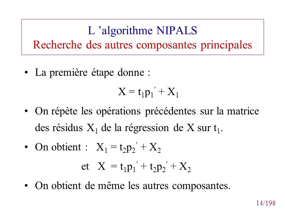14/198 L algorithme NIPALS Recherche des autres composantes principales La première étape donne : X = t 1 p 1 + X 1 On répète les opérations précédent