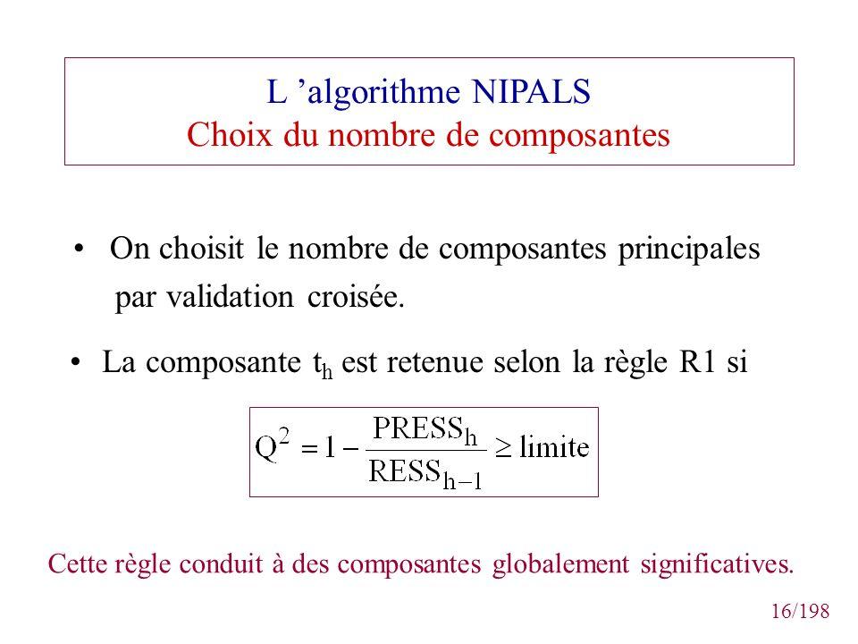 16/198 L algorithme NIPALS Choix du nombre de composantes La composante t h est retenue selon la règle R1 si Cette règle conduit à des composantes glo