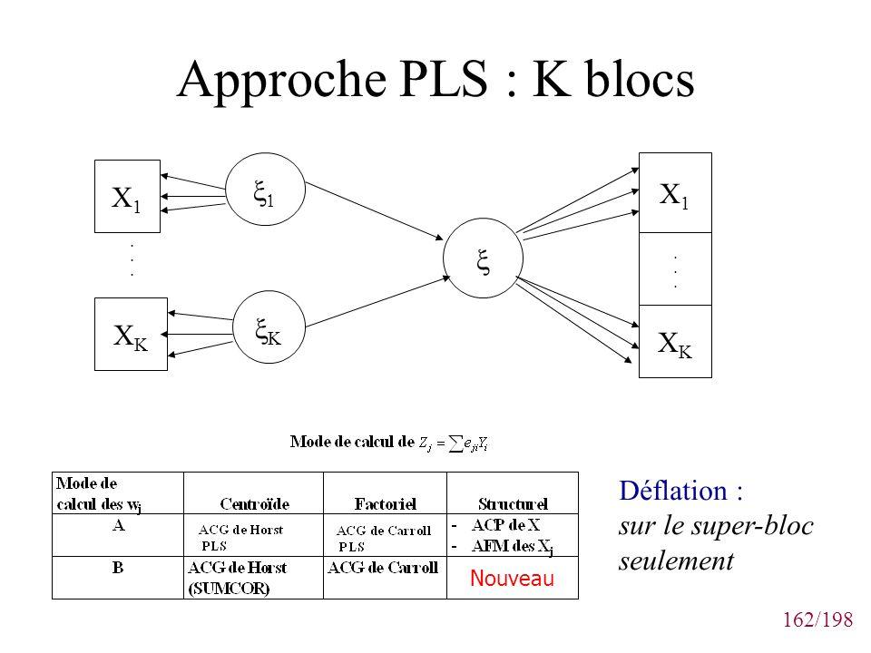 162/198 Approche PLS : K blocs X1X1 XKXK...... X1X1...... XKXK Nouveau Déflation : sur le super-bloc seulement