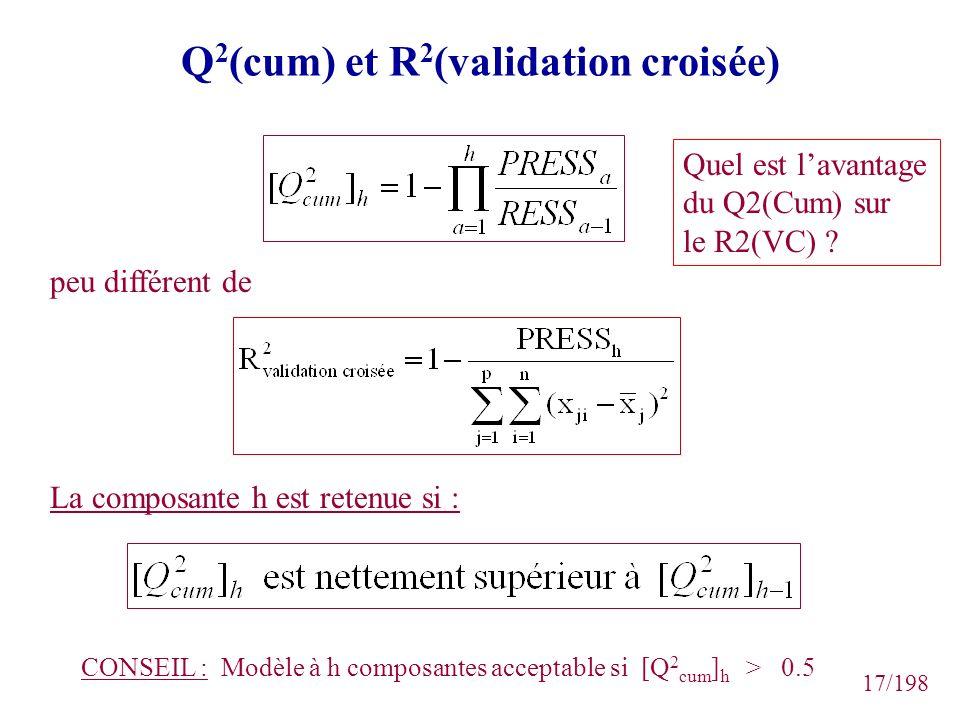 17/198 Q 2 (cum) et R 2 (validation croisée) CONSEIL : Modèle à h composantes acceptable si [Q 2 cum ] h > 0.5 La composante h est retenue si : peu di
