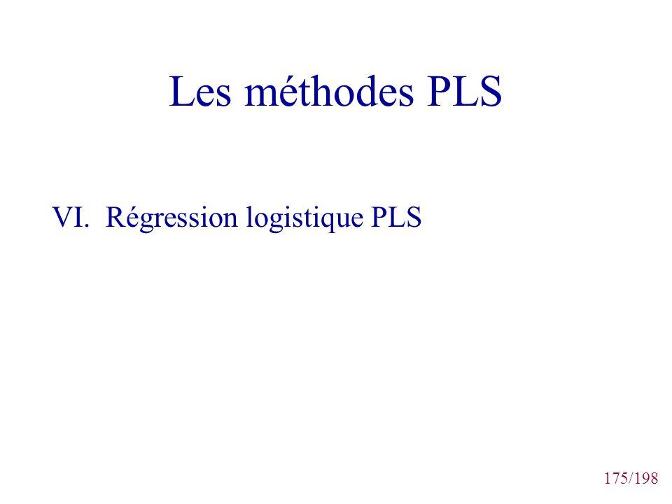175/198 Les méthodes PLS VI. Régression logistique PLS