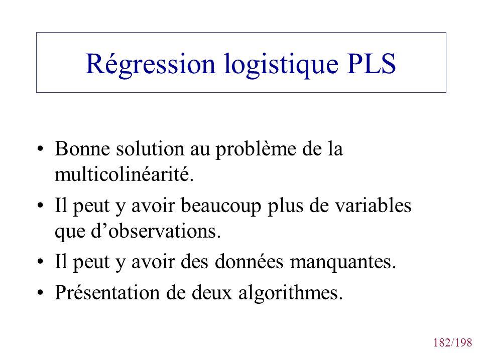 182/198 Régression logistique PLS Bonne solution au problème de la multicolinéarité. Il peut y avoir beaucoup plus de variables que dobservations. Il