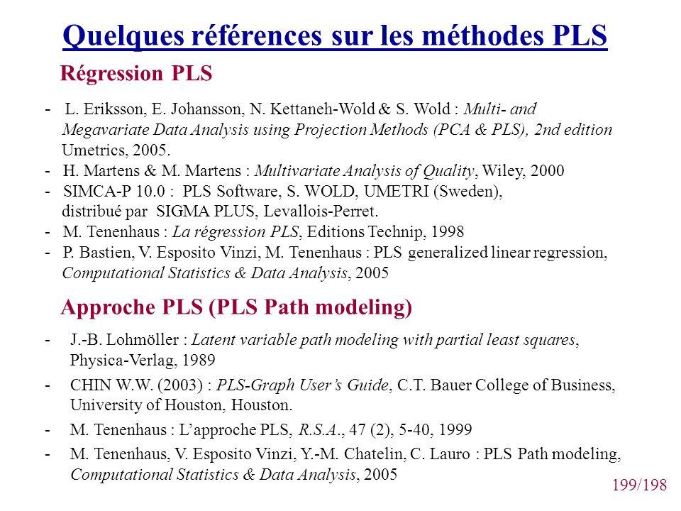 199/198 Quelques références sur les méthodes PLS -J.-B. Lohmöller : Latent variable path modeling with partial least squares, Physica-Verlag, 1989 -CH