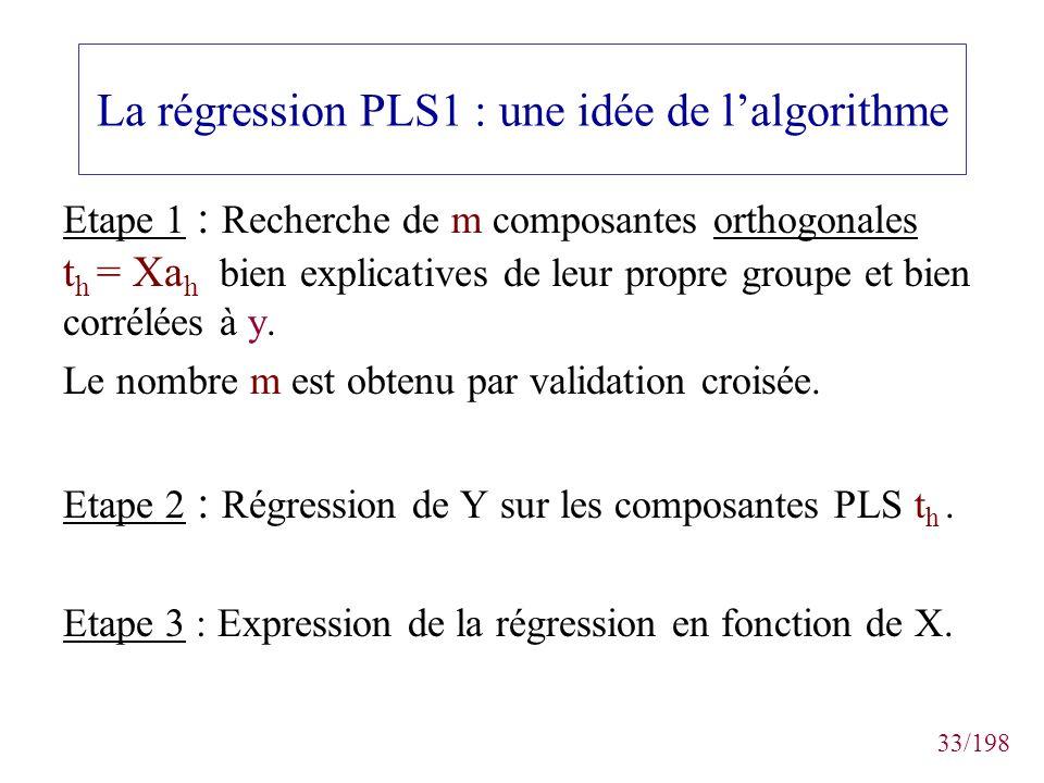 33/198 La régression PLS1 : une idée de lalgorithme Etape 1 : Recherche de m composantes orthogonales t h = Xa h bien explicatives de leur propre grou