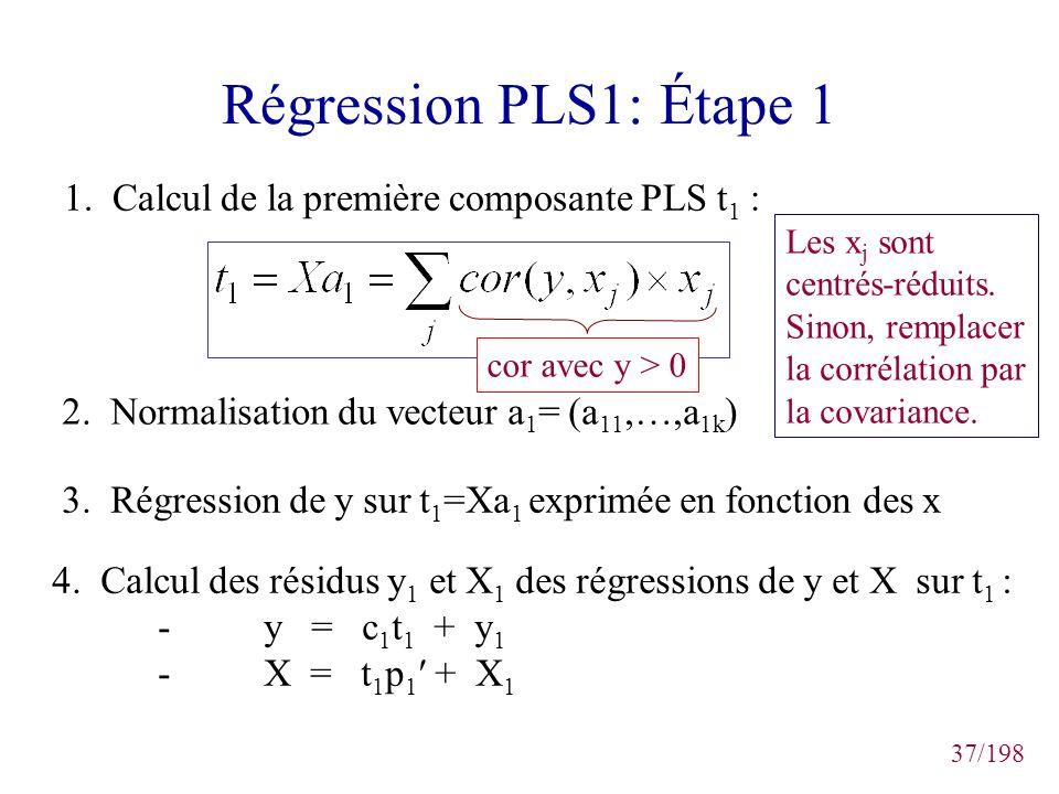 37/198 Régression PLS1: Étape 1 1. Calcul de la première composante PLS t 1 : 2. Normalisation du vecteur a 1 = (a 11,…,a 1k ) 3. Régression de y sur