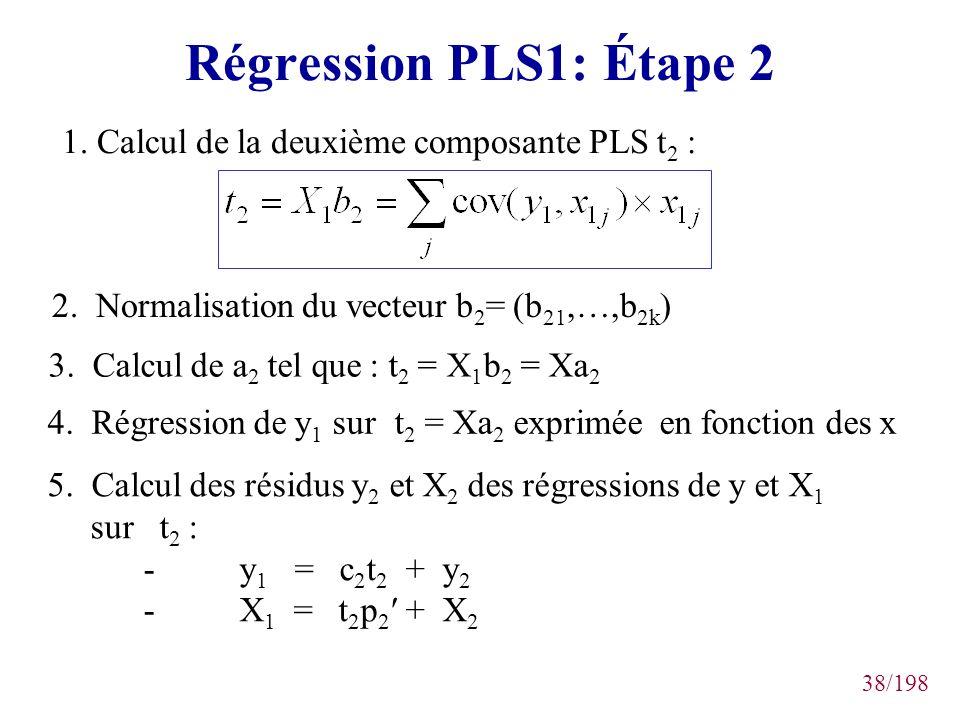 38/198 Régression PLS1: Étape 2 1. Calcul de la deuxième composante PLS t 2 : 2. Normalisation du vecteur b 2 = (b 21,…,b 2k ) 3. Calcul de a 2 tel qu