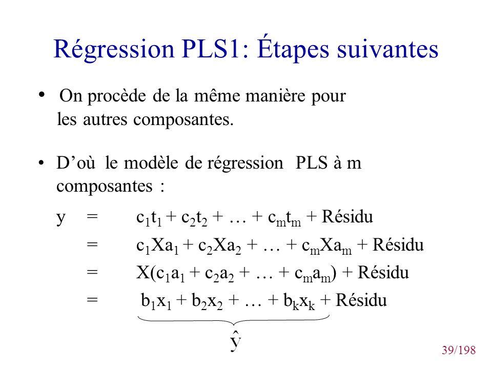 39/198 Régression PLS1: Étapes suivantes Doù le modèle de régression PLS à m composantes : y= c 1 t 1 + c 2 t 2 + … + c m t m + Résidu =c 1 Xa 1 + c 2