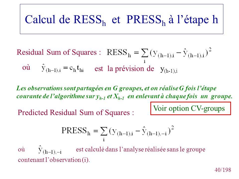 40/198 Calcul de RESS h et PRESS h à létape h Les observations sont partagées en G groupes, et on réalise G fois létape courante de lalgorithme sur y