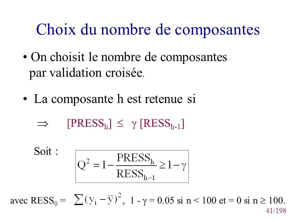 41/198 Choix du nombre de composantes On choisit le nombre de composantes par validation croisée. La composante h est retenue si [PRESS h ] [RESS h-1
