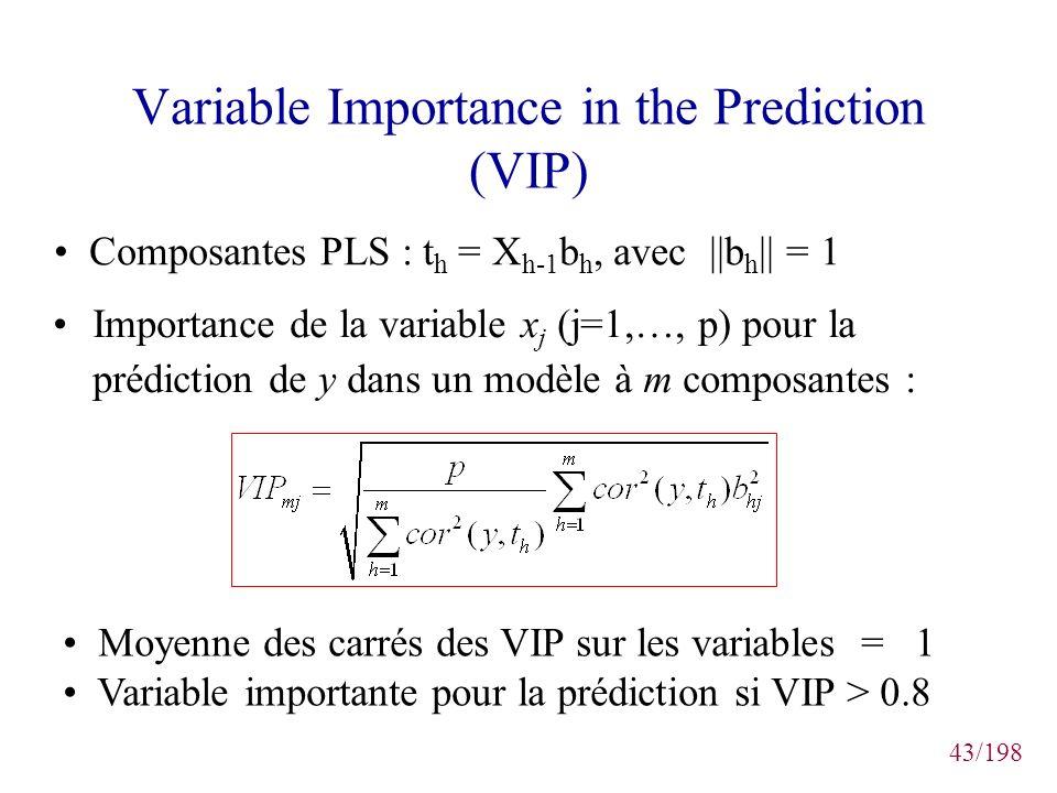 43/198 Variable Importance in the Prediction (VIP) Importance de la variable x j (j=1,…, p) pour la prédiction de y dans un modèle à m composantes : C