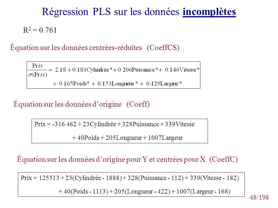 48/198 Régression PLS sur les données incomplètes R 2 = 0.761 Équation sur les données centrées-réduites (CoeffCS) Équation sur les données dorigine (