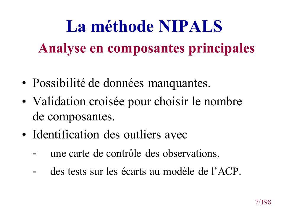7/198 La méthode NIPALS Analyse en composantes principales Possibilité de données manquantes. Validation croisée pour choisir le nombre de composantes