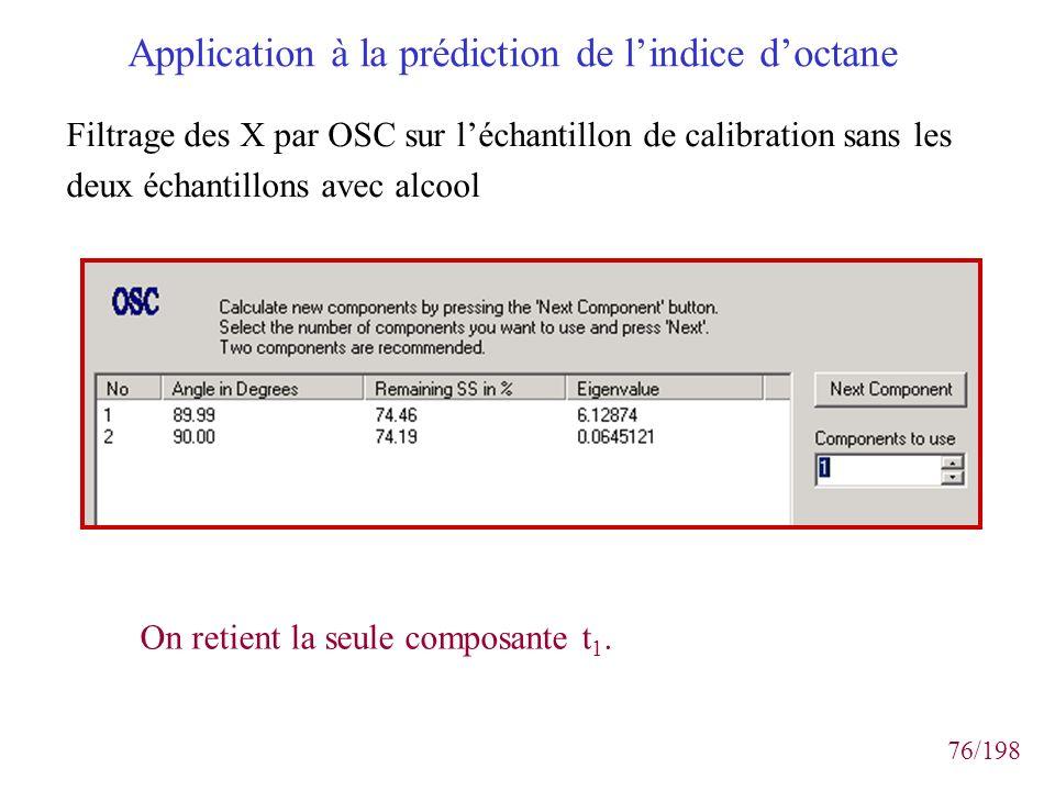 76/198 Application à la prédiction de lindice doctane Filtrage des X par OSC sur léchantillon de calibration sans les deux échantillons avec alcool On