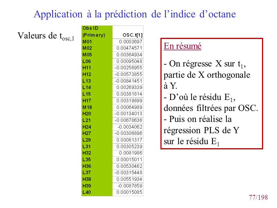 77/198 Application à la prédiction de lindice doctane Valeurs de t osc,1 En résumé - On régresse X sur t 1, partie de X orthogonale à Y. - Doù le rési