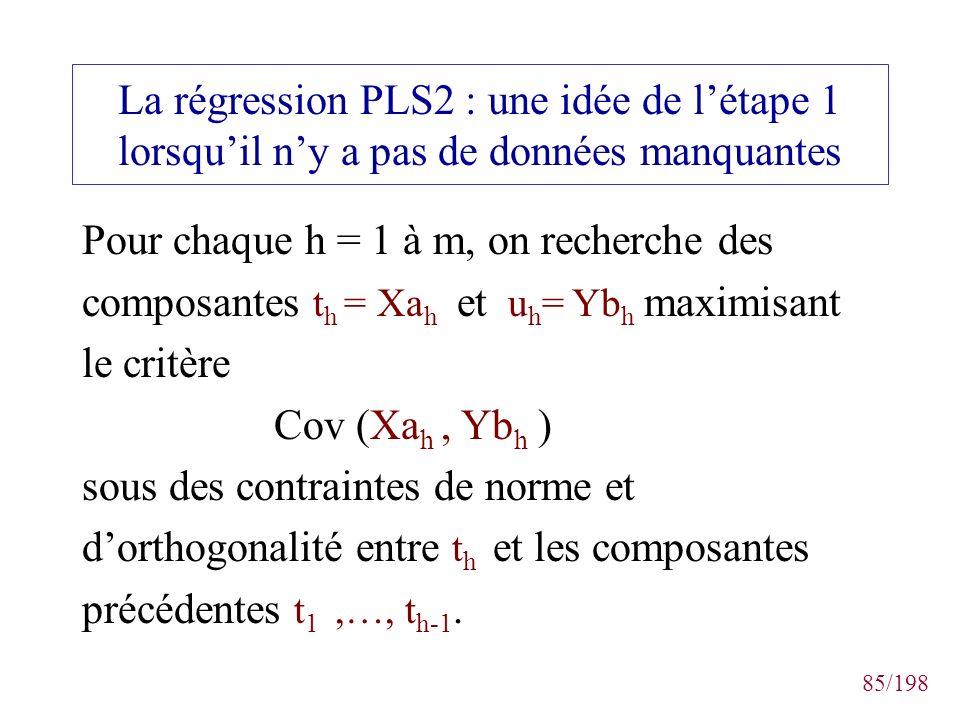 85/198 La régression PLS2 : une idée de létape 1 lorsquil ny a pas de données manquantes Pour chaque h = 1 à m, on recherche des composantes t h = Xa