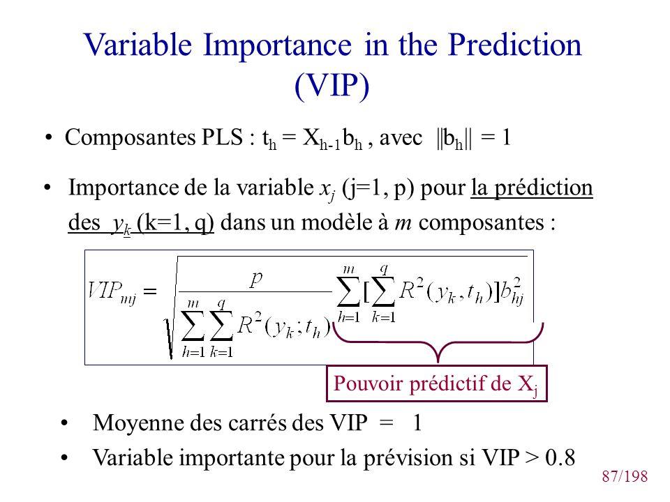 87/198 Variable Importance in the Prediction (VIP) Importance de la variable x j (j=1, p) pour la prédiction des y k (k=1, q) dans un modèle à m compo
