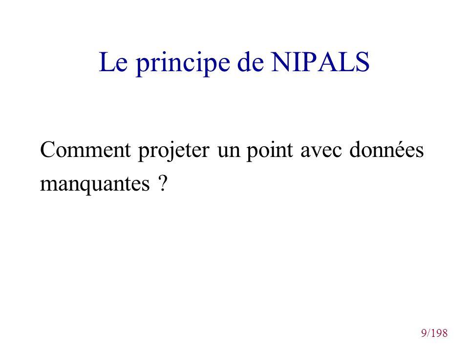 9/198 Le principe de NIPALS Comment projeter un point avec données manquantes ?