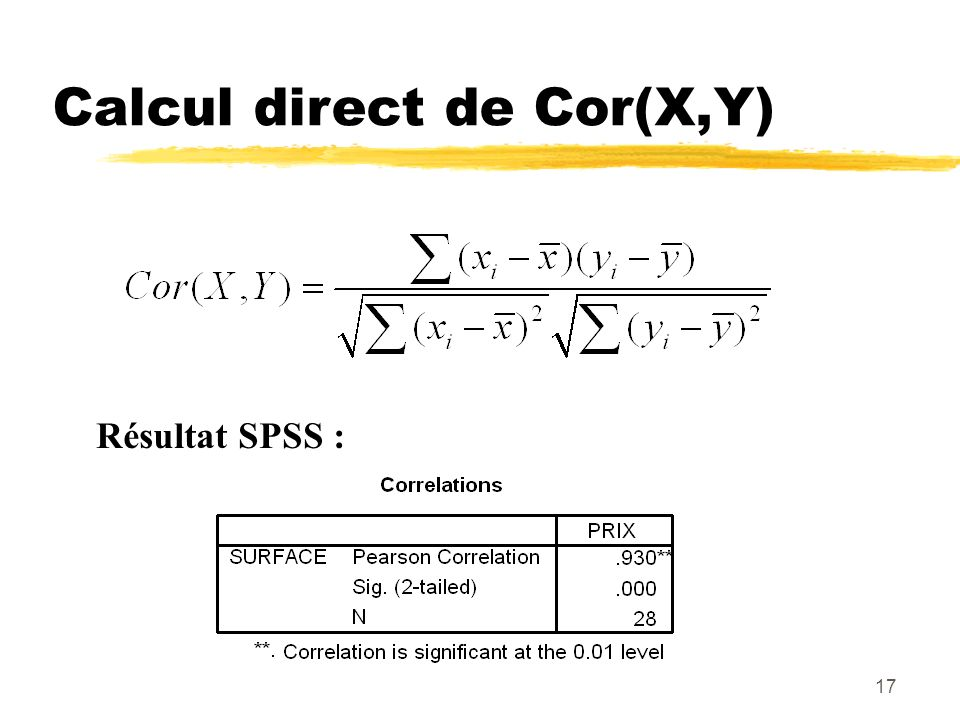 17 Calcul direct de Cor(X,Y) Résultat SPSS :