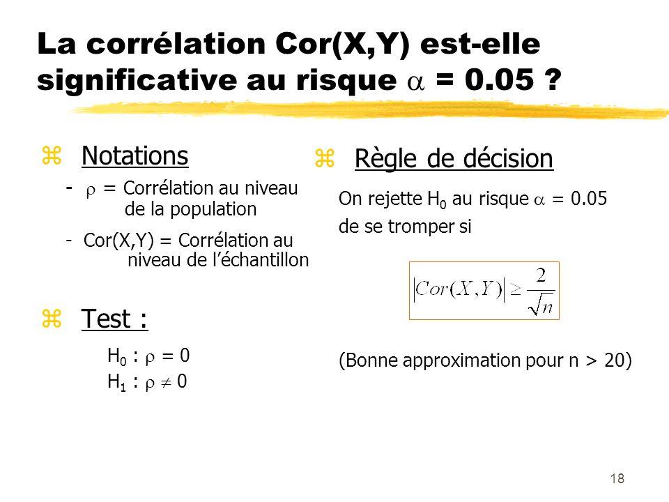 18 La corrélation Cor(X,Y) est-elle significative au risque = 0.05 ? z Notations - = Corrélation au niveau de la population - Cor(X,Y) = Corrélation a