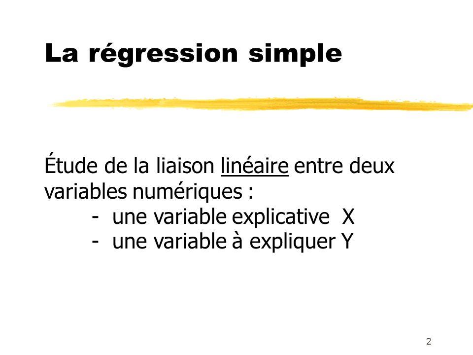 2 La régression simple Étude de la liaison linéaire entre deux variables numériques : - une variable explicative X - une variable à expliquer Y