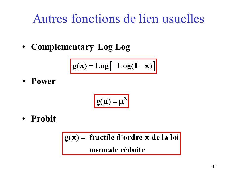 11 Autres fonctions de lien usuelles Complementary Log Log Power Probit