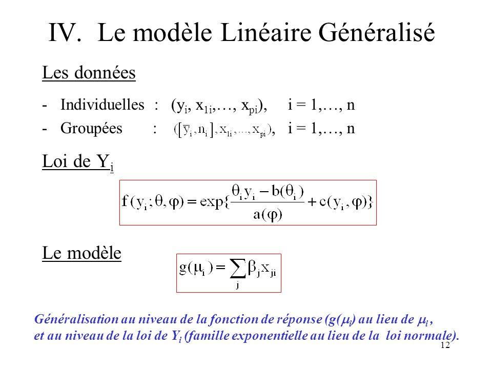 12 IV.Le modèle Linéaire Généralisé Les données -Individuelles : (y i, x 1i,…, x pi ), i = 1,…, n -Groupées :, i = 1,…, n Loi de Y i Le modèle Général