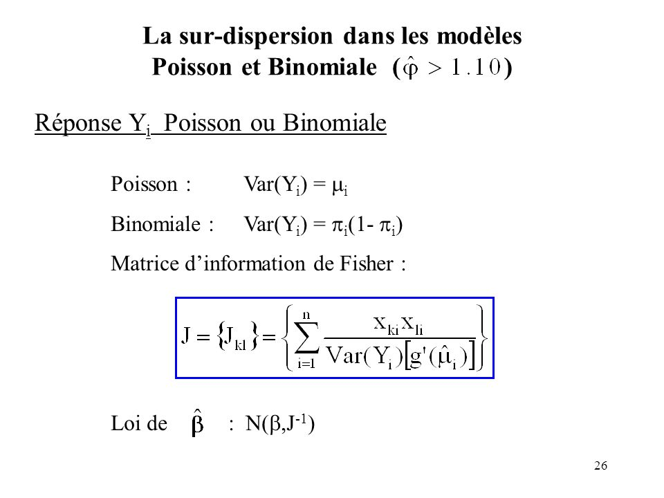 26 La sur-dispersion dans les modèles Poisson et Binomiale ( ) Réponse Y i Poisson ou Binomiale Poisson :Var(Y i ) = i Binomiale : Var(Y i ) = i (1- i