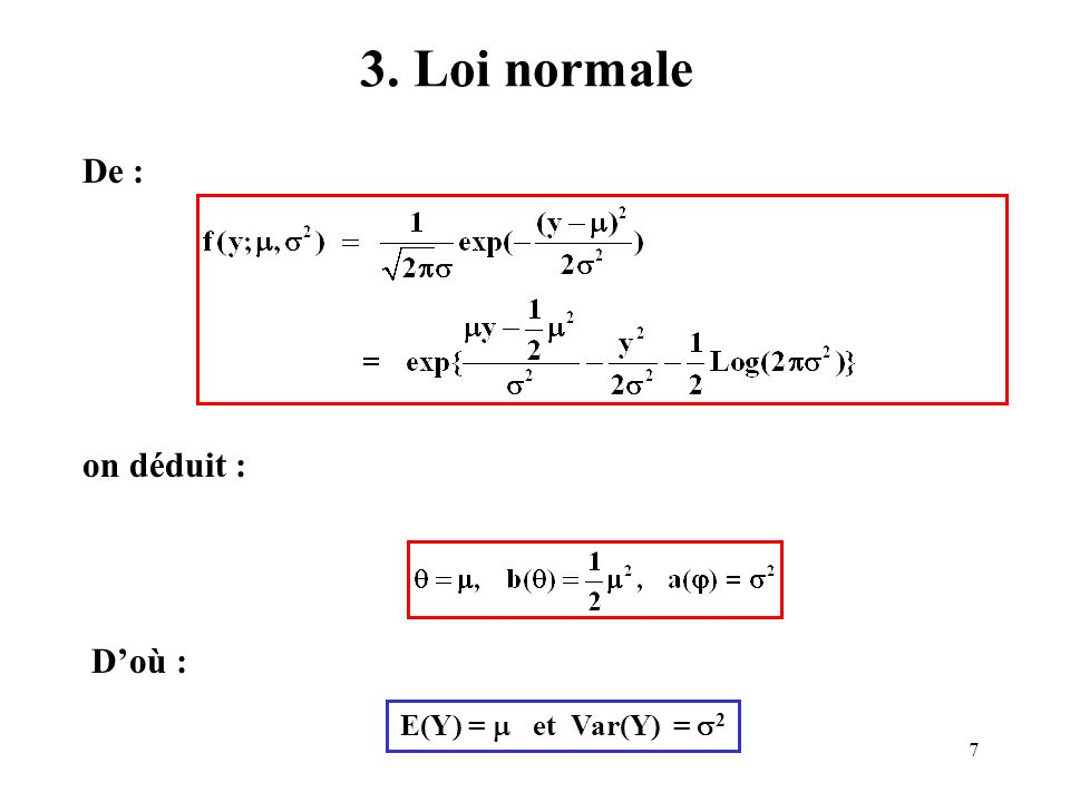 48 Exemple Mélanome : Estimation du modèle 5 Criteria For Assessing Goodness Of Fit Criterion DF Value Value/DF Deviance 7 8.2667 1.1810 Scaled Deviance 7 8.2667 1.1810 Pearson Chi-Square 7 8.2292 1.1756 Scaled Pearson X2 7 8.2292 1.1756 Log Likelihood -7793.1539 Analysis Of Parameter Estimates Standard Wald 95% Confidence Parameter DF Estimate Error Limits Intercept 1 -6.8954 0.1080 -7.1070 -6.6838 age1 1 -2.9449 0.1321 -3.2038 -2.6860 age2 1 -1.0884 0.1122 -1.3083 -0.8685 age3 1 -0.6561 0.1141 -0.8797 -0.4325 region n 1 -0.8167 0.0710 -0.9559 -0.6775 region s 0 0.0000 0.0000 0.0000 0.0000