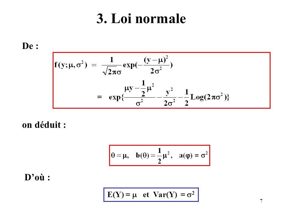 8 4. Loi gamma De : on déduit : Doù : E(Y) =, Var(Y) = 2 /, et CV =