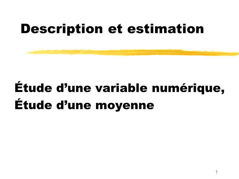 32 Taille de léchantillon permettant dobtenir une précision souhaitée c au niveau de confiance 1 - n = taille de léchantillon à définir s= futur écart-type observé Problème : Trouver n tel que