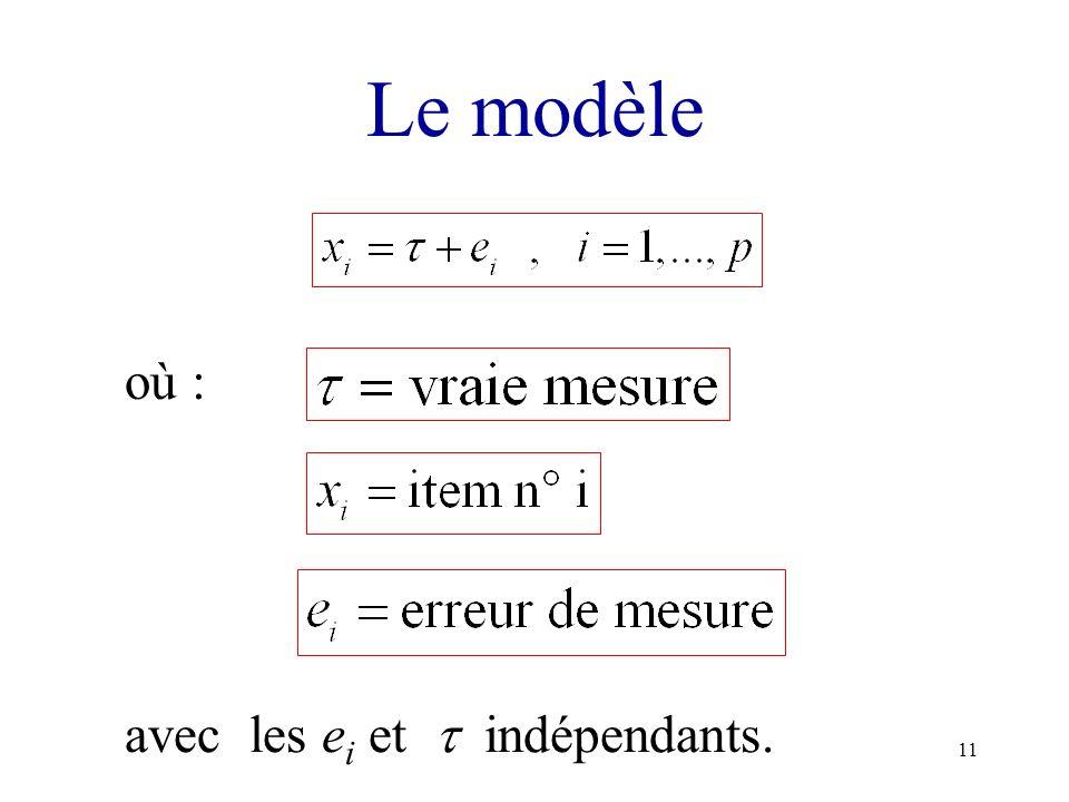 11 Le modèle où : avec les e i et indépendants.