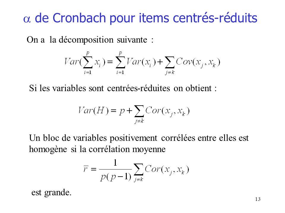 13 de Cronbach pour items centrés-réduits On a la décomposition suivante : Si les variables sont centrées-réduites on obtient : Un bloc de variables p