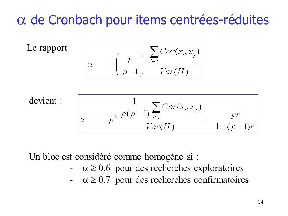 14 de Cronbach pour items centrées-réduites Le rapport Un bloc est considéré comme homogène si : - 0.6 pour des recherches exploratoires - 0.7 pour de