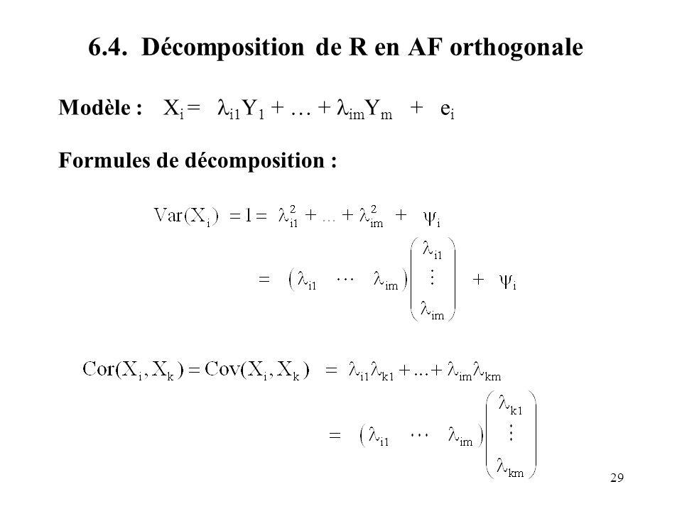 29 6.4. Décomposition de R en AF orthogonale Modèle : X i = i1 Y 1 + … + im Y m + e i Formules de décomposition :