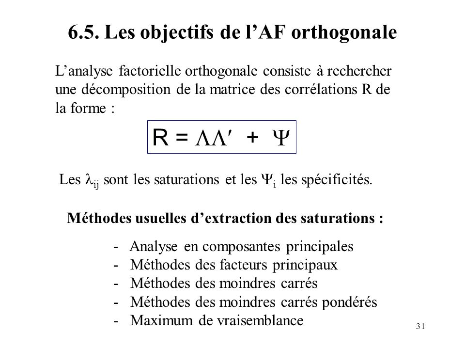 31 6.5. Les objectifs de lAF orthogonale Lanalyse factorielle orthogonale consiste à rechercher une décomposition de la matrice des corrélations R de