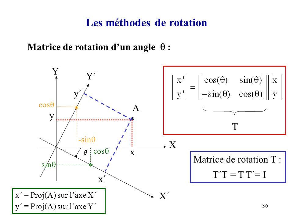 36 Les méthodes de rotation Matrice de rotation dun angle : X Y Y´ X´ A * x y x´ y´ T Matrice de rotation T : T´T = T T´= I * cos sin x´ = Proj(A) sur