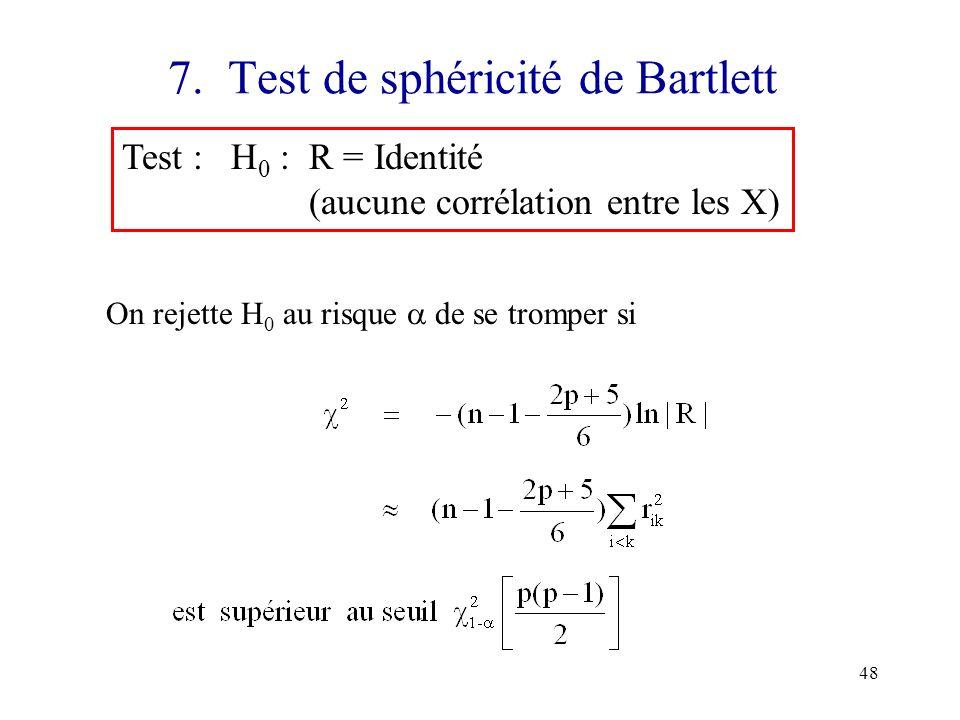 48 7. Test de sphéricité de Bartlett Test : H 0 : R = Identité (aucune corrélation entre les X) On rejette H 0 au risque de se tromper si