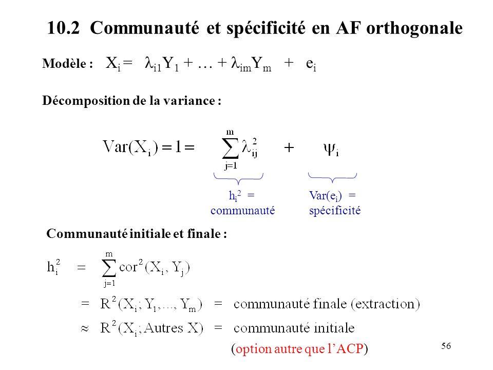 56 10.2 Communauté et spécificité en AF orthogonale Modèle : X i = i1 Y 1 + … + im Y m + e i Décomposition de la variance : h i 2 = communauté Var(e i
