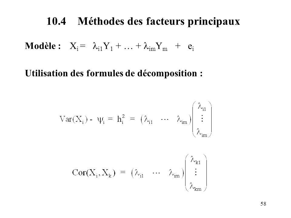 58 10.4 Méthodes des facteurs principaux Modèle : X i = i1 Y 1 + … + im Y m + e i Utilisation des formules de décomposition :